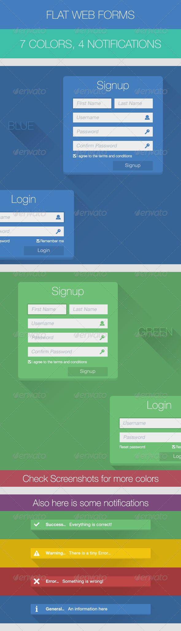 Flat Web Forms  #GraphicRiver