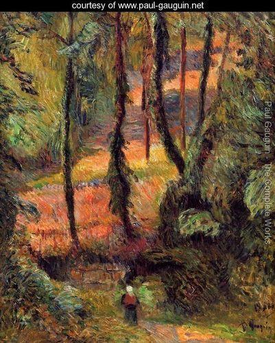 Sunken Path  Wooded Rose - Paul Gauguin -