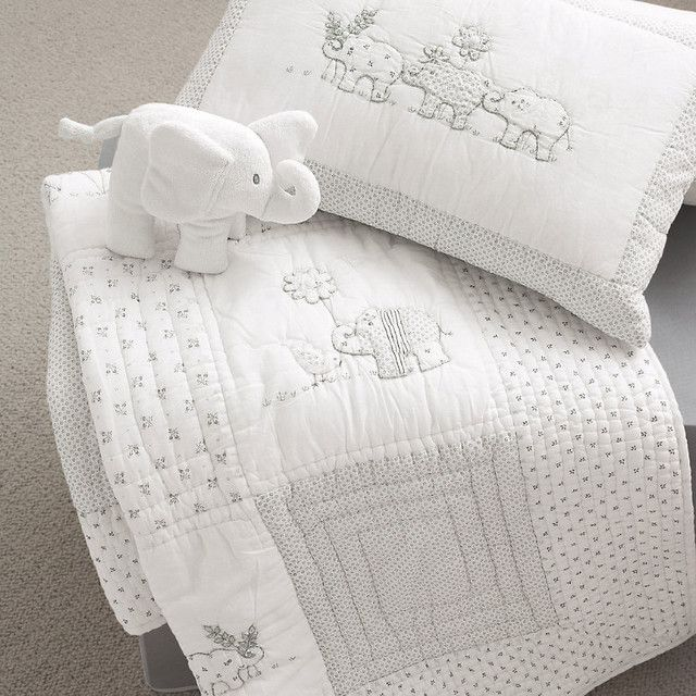 Baby Elephant Quilt & Cushion - modern - baby bedding - - by The White Company