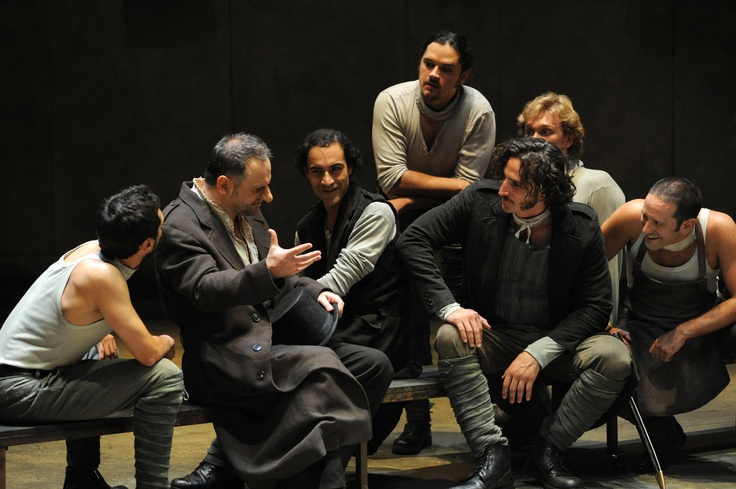 """My son and other actors in """" Cyrano de Bergerac"""" ."""