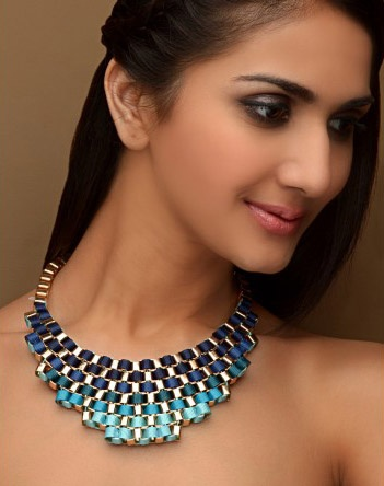 Shaded Blue Woven Bib Necklace  by Bansri Joallerie