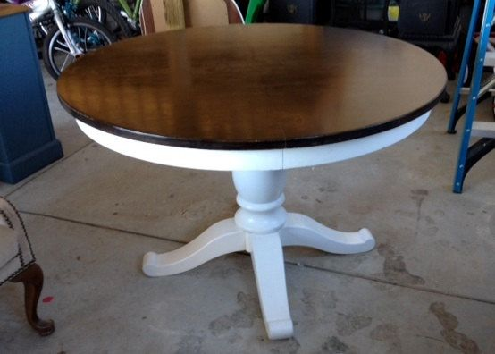 White Pedestal Table, Top Has Been Sanded Down And A Dark Walnut Stain Has  Been