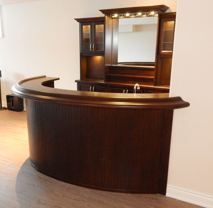 Curved Oak Home Bar With Back Unit
