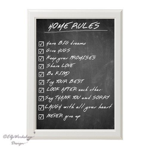 INSTANT DOWNLOAD / 30x20cm Printable Blackboard Decor poster Home Rules / Digital quote poster Home rules/ Home Decoration / Quote print