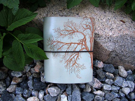 Hand Burned Tree Leather Traveler's Notebook Journal