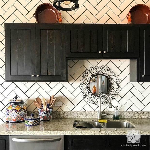 Diy Idea Stencil A Faux Brick Wall Or Subway Tiles Herringbone