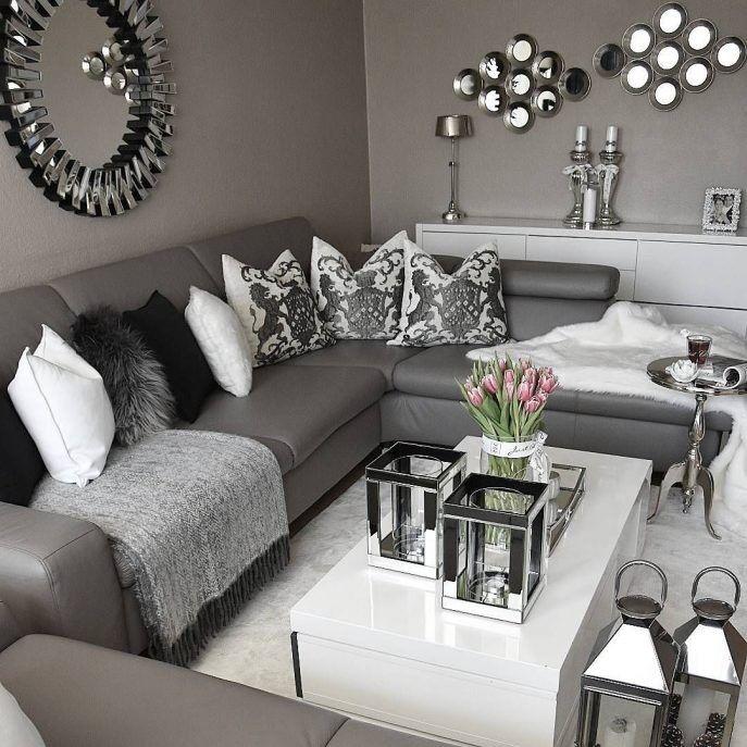 Black white and gray living room design
