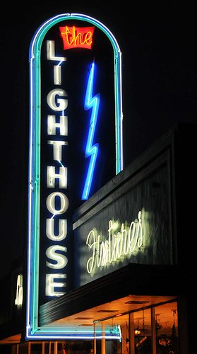 'The Lighthouse' Neon Sign: San Carlos, California