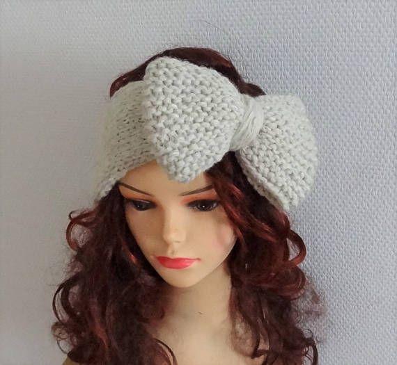 Knitted Bow Headband BIG Bow Headband Knit Headband bow