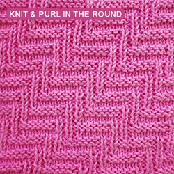 Rib and Welt Diagonals stitch worked in the round in a reversible knit and purl pattern.