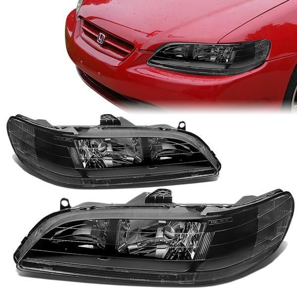 98 02 Honda Accord Headlights Black Housing Clear Corner Honda Accord Honda Headlights