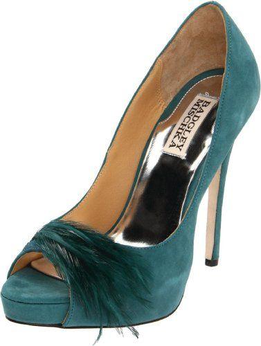 Green prom shoes 2014 Badgley Mischka high heel peep-Ttoe pump