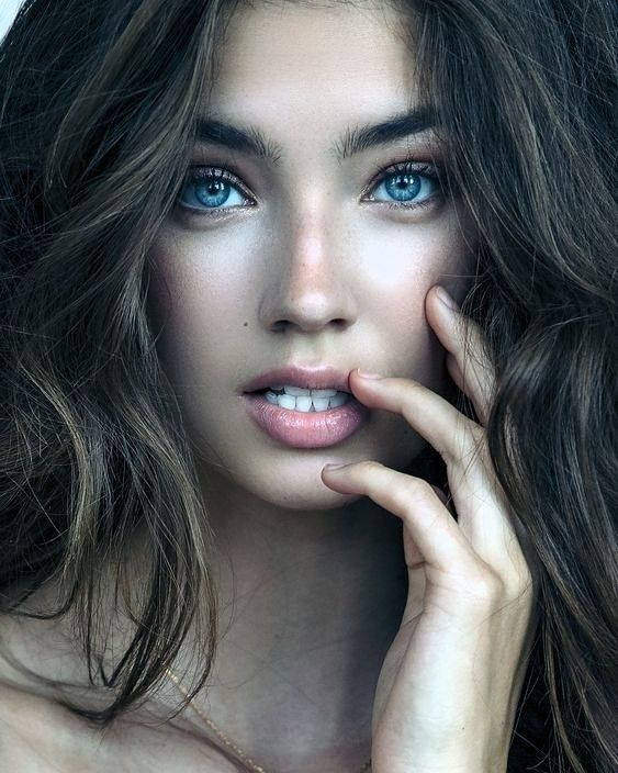 Face of the beautiful sexy woman with long brown hair stock photo by valuavitaly