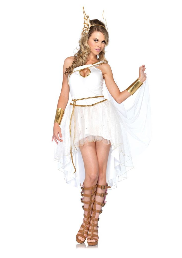 3 PC Goddess Hermes, includes keyhole asymmetrical dress with flowing glitter tulle draped skirt and braided belt, gold wrist cuffs and wing head piece.