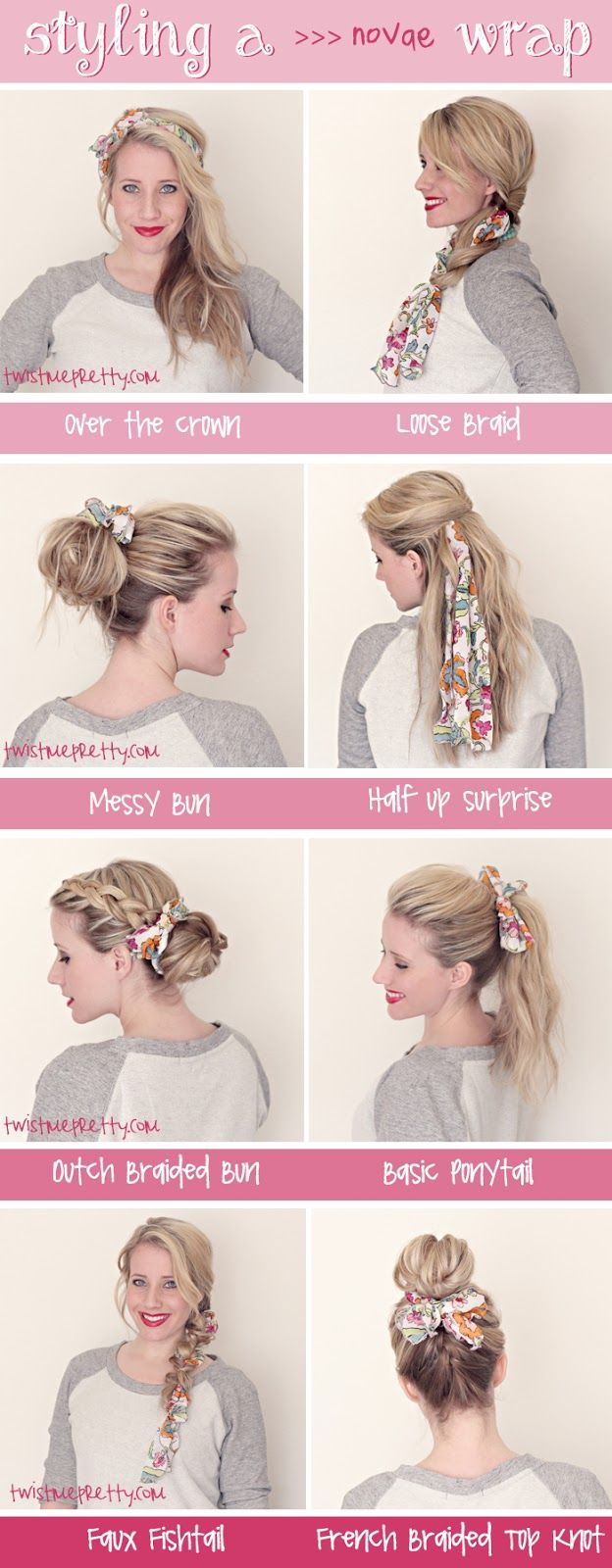 I like some of these. When I my hair grows out again...Styling a noVae Clothing Wrap. Hairstyles | Twist Me Pretty