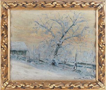 GUSTAV WENTZEL CHRISTIANIA 1859 - LILLEHAMMER 1927  Vintermotiv, 1896 Olje på lerret, 45x55 cm Signert og datert nede til høyre: Gustav Wentzel 96