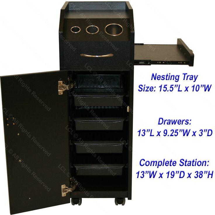 BLACK WOOD LOCKING STYLING STATION 4 DRAWER TROLLEY CART TATTOO SALON