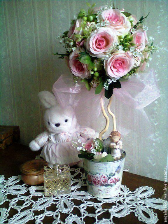 """Топиарий свадебный """"Весенний розовый сад """" - розовый,топиарий,топиарий из роз"""