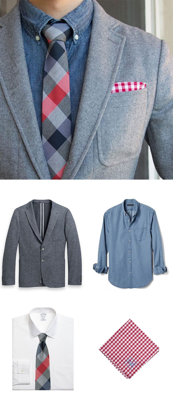 Plaid Tie and Denim Shirt - Bold + Cool Style.