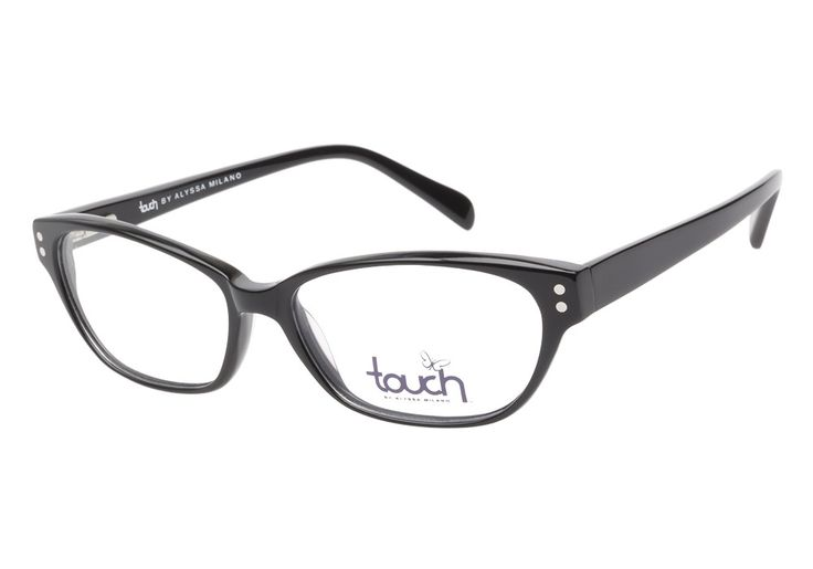 Touch by Alyssa Milano 110 Black eyeglasses are classically simple. This subtly cateye style comes in glossy black acetate with upturned oval shaped lenses. The frame front is enhanced by polished sil from @CoastalDotCom
