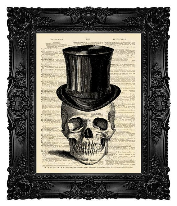 Hey, I found this really awesome Etsy listing at https://www.etsy.com/listing/128878619/skull-art-print-skull-in-top-hat-skull