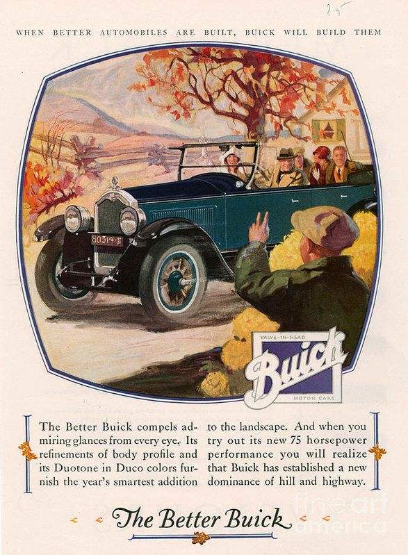 Buick 1925 1920s Usa Cc Cars Autumn Art Print By The Advertising