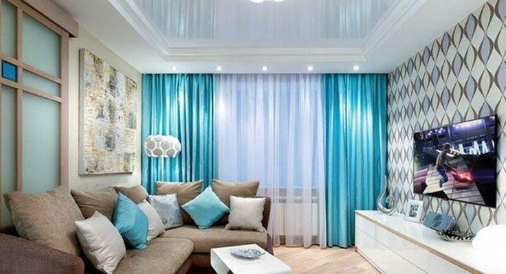 Голубые шторы в гостиной: советы по использованию и сочетанию цвета