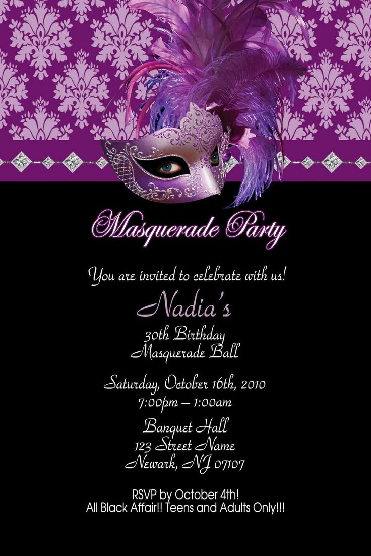 17 Best images about Masquerade party invitations – 16th Party Invitation Templates