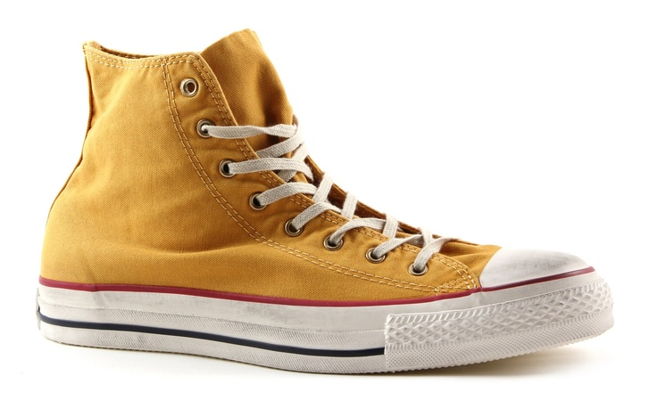 Converse all star washed hi text gele hoge sneakers