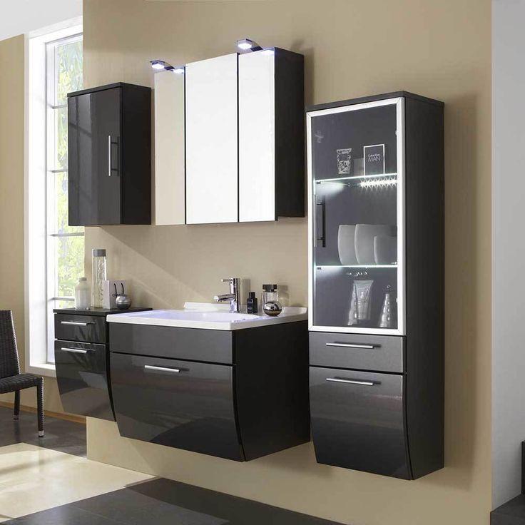 Badezimmermöbel Set In Anthrazit Hochglanz Mit 3D Spiegelschrank (5 Teilig)  Jetzt Bestellen Unter