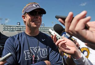 BYU head coach Bronco Mendenhall reluctantly joined Twitter last April.
