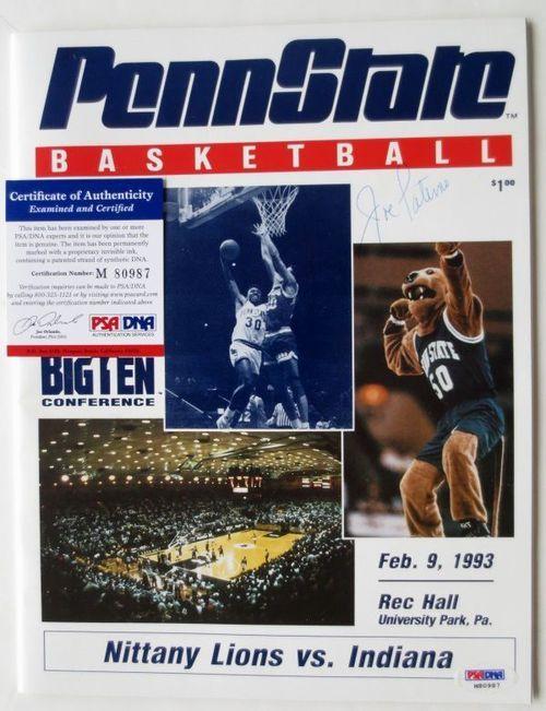 Joe Paterno Signed Penn State Basketball Program Feb. 9, 1993 PSA