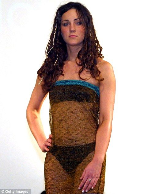 Royal approval: The former Kate Middleton modelled this see-through dress on the catwalk at a St. Andrew's student fashion show in 2002 which was said to have caught William's eye. It was later auctioned for £78,000
