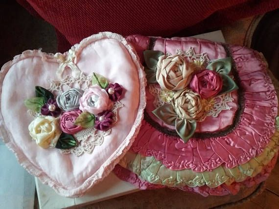 Beautiful roses on these handmade stockings cases made from Perran Yarns recycled sari silk ribbon
