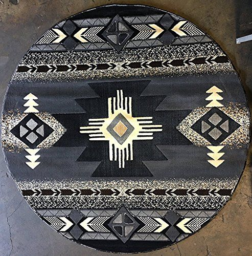 Southwest Native American Round Area Rug Grey Design C318