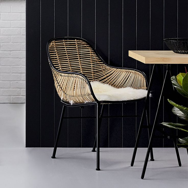 Made from natural Rattan weaved into a sleek black metal frame, this relaxed indoor Cebu Rattan Bucket Chair from Home Republic is both stylish and unique.The Home Republic Cebu Rattan range also includes Counter Stools. Oval Chairs, Dining Chairs and Rocking Chairs to suit your personal style and incorporate the theme throughout your home.