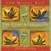 I finished listening to The Four Agreements (Unabridged) by don Miguel Ruiz, narrated by Peter Coyote on my Audible app.  Try Audible and get it free.