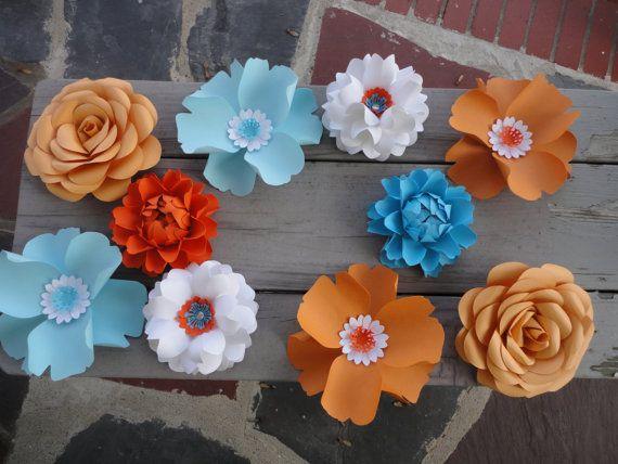 Medium Paper Flowers set of 10 flowers - Rose Poppy Peony  - Decor Backdrop