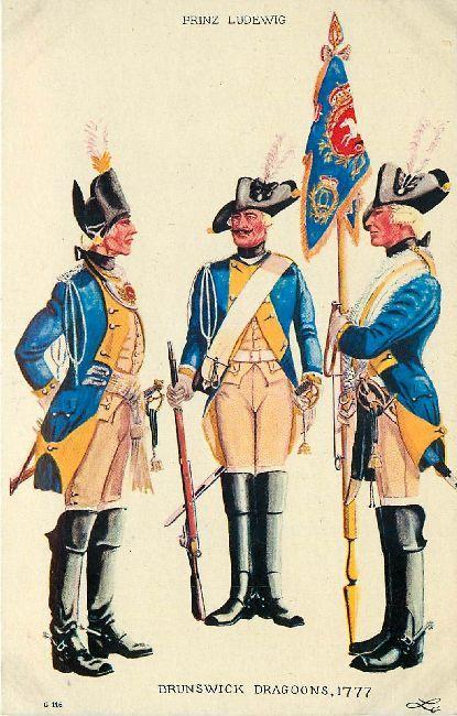 Brunswick Dragoons, 1777 - Brunswick Dragoons, 1777. Prinz Ludewig.
