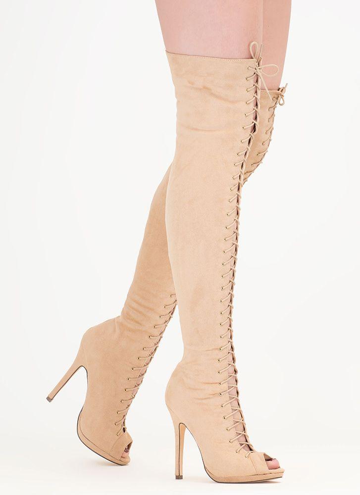 218db15645b Revamp Faux Suede Over-The-Knee Boots NUDE Over De Knie Laarzen