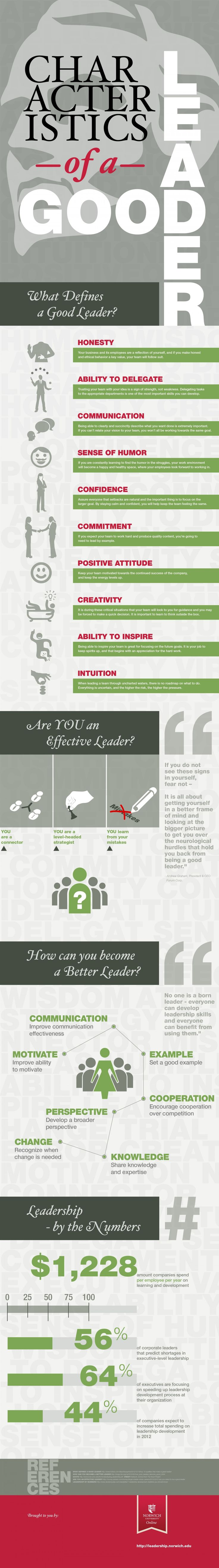 a #professional is or recognizes a leader: Characteristics of a Good #Leader #Infographic