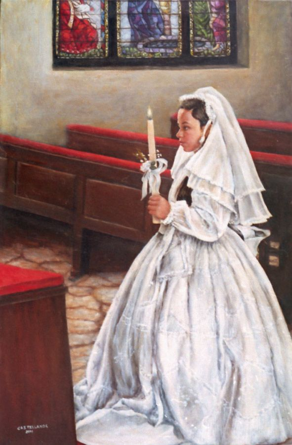 """""""First Communion in Latin America"""" A young girl receiving her First Communion in a traditional Latin American church."""