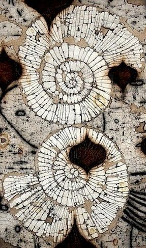 Eric Gonzales   'Gemini' He creates paintings of organic structures etched within grids of mixed media surfaces composed of rich dried pigments, clay and powdered marble.: