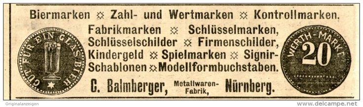 Original-Werbung/ Anzeige 1905 - BIERMARKEN / FABRIKMARKEN - BALMBERGER NÜRNBERG  - ca. 100 x 25 mm