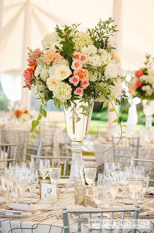like this for combination of white, cream and coral flowers, and greenery - try for this proportion of colors on arbor and tables