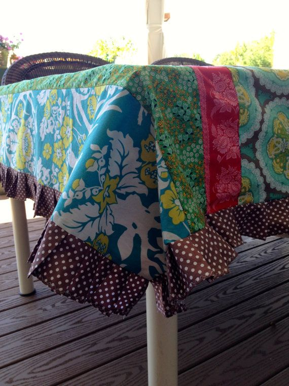 Beautiful and eclectic tablecloth featuring Joel Dewberry Antler Valley fabric. The tablecloth theme and colors were picked to complement this
