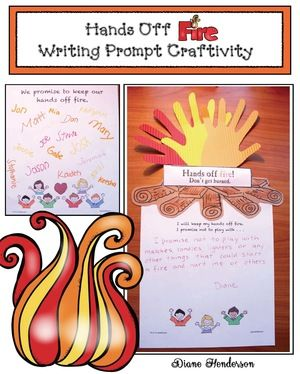 "Fire Safety Activities: FREE ""Hands Off Fire"" super-fun writing prompt craftivity.  Includes an ""I promise"" poster for your kiddos to sign, plus a sweet ""Never Ever Play With Fire"" song."