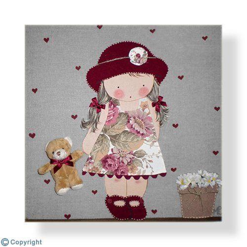 Cuadro infantil personalizado: Niña con sombrero (ref. 12009-07)
