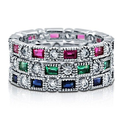 Multi-Color Cubic Zirconia CZ 925 Sterling Silver Stackable Eternity Ring #Artdeco #Jewelry #Berricle
