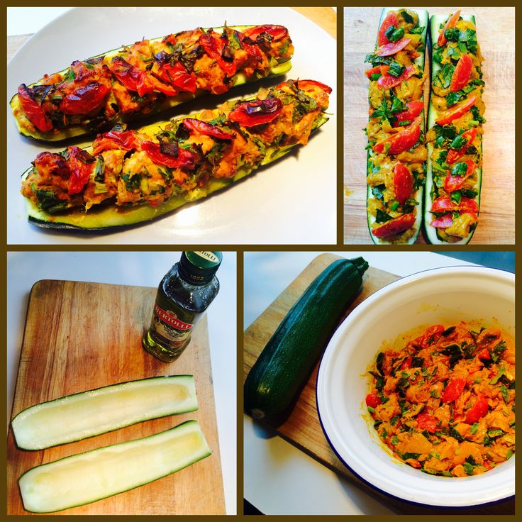 #Chicken Recipes# #Zucchini Recipes# #Kip Recepten# #Courgette Recepten#  #Stuffed Zucchini#  1 x Zucchini, Chicken Breast, Turmeric, 4 Season Pepper,  4 x Garlic Cloves, Mini Tomatoes (red and yellow), Madam Jeanette Pepper, Olive Oil, Spring Onions, Celery, Salt,  Bake it for about 30 minutes in a preheated 230 degree oven.#  --------------------------------------------------------  #Gevulde Courgette#  #Ingrediënten:   1 x Courgette, Kipfilet, Koenjit, 4 Seizoenen Peper, 4 x…